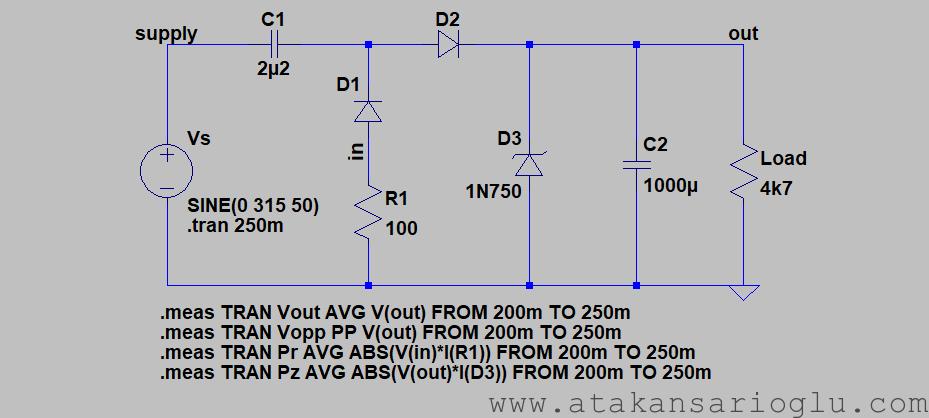 ltspice spice circuit diagram 220vac 230vac 240vac capacitive supply simple